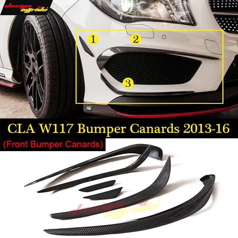 W117 Anterior Lip Bumper Canards 6pcs Carbon Fiber For Mercedes Benz CLA180 CLA200 CLA250 CLA45 Splitter Flap Canard 2013-16