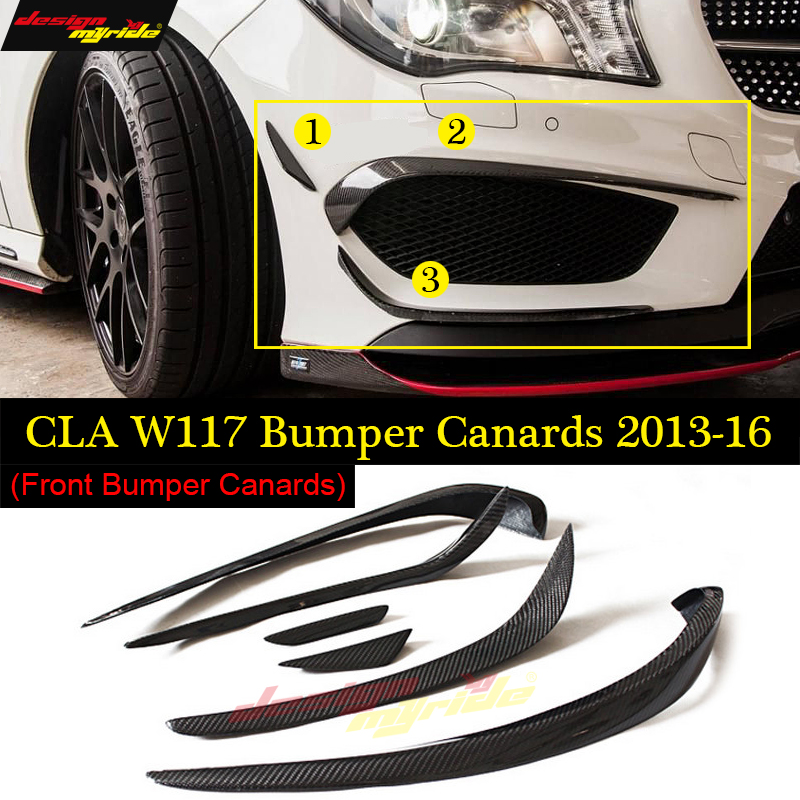 W117前方リップバンパーカナード6個カーボンファイバー用メルセデスベンツCLA180 CLA200 CLA250 CLA45スプリッターフラップカナード2013-16メルセデスクラカナード