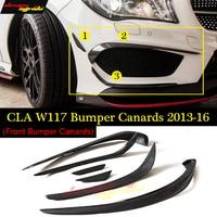 W117 Anterior lip Bumper Canards 6pcs Carbon fiber For Mercedes Benz CLA180 CLA200 CLA250 CLA45 Splitter Flap Canard 2013 16