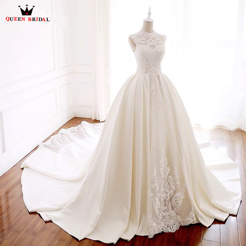 Custom Made Ball Gown Elegant Long Formal Wedding Dresses Satin Lace Tulle Beaded Appliques Wedding Gown 2019 Real Photo WH01