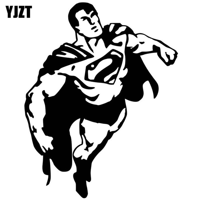Yjzt 14 9cmx19cm classic cartoon character superman vinyl retro reflective sheeting car sticker black silver