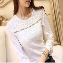 New Fashion Casual Women Long Sleeve Lace font b Blouses b font White Autumn Winter Elegant