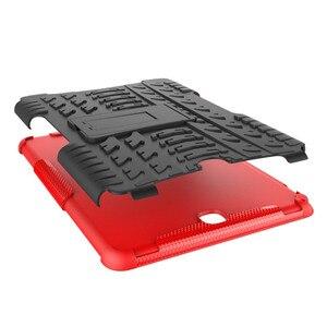 Image 3 - Support hybride dur Silicone caoutchouc armure étui pour samsung Galaxy Tab A 9.7 T555 T550 SM T555 SM P550 couvercle anti chocs + film + stylo