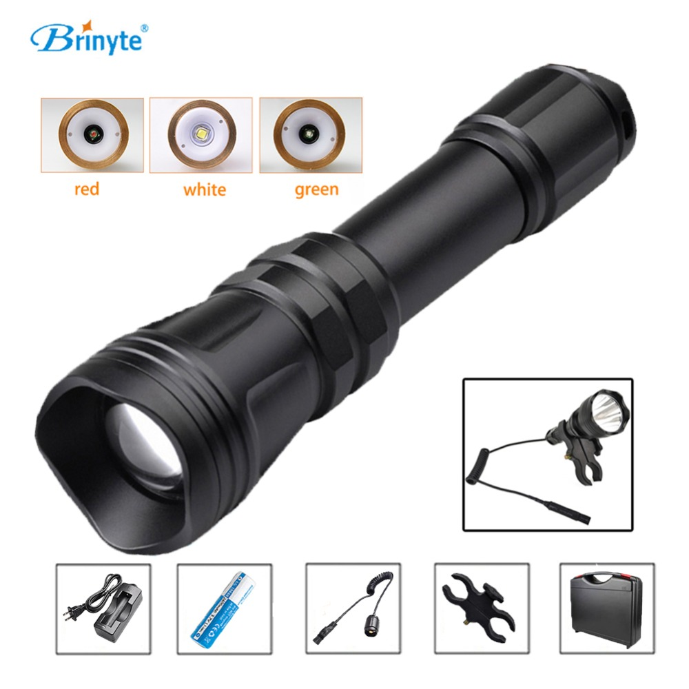 Brinyte B168 Waterproof Zoom-able XM-L2 U4 LED Hunting Flashlight Torch with Gun Mount Remote Switch Rechargeable 18650 Battery led xm l2 flashlight 8000lumens tactical flashlight hunting flash light torch lamp 18650 battery charger gun mount