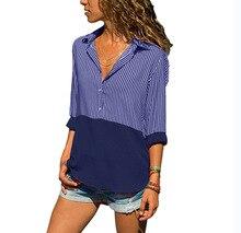 chic women blouse casual female womens top striped spliced turn-down collar autumn cassic elegant shirt ladies clothing