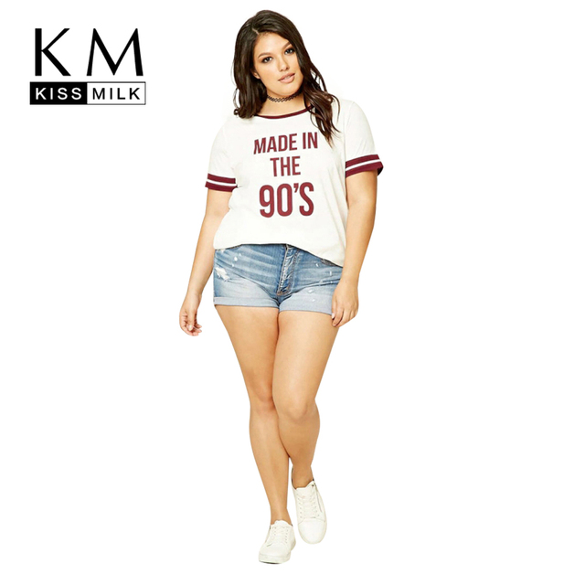 Kissmilk Plus Size Nuevas Mujeres Ropa Casual O-cuello de la Impresión Tops Streetwear Estilo Preppy Gran Tamaño de La Camiseta 3XL 4XL 5XL 6XL
