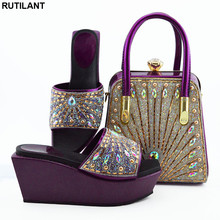 Pumps Shoes African-Sets Women Elegant And Latest Party Crystal for in