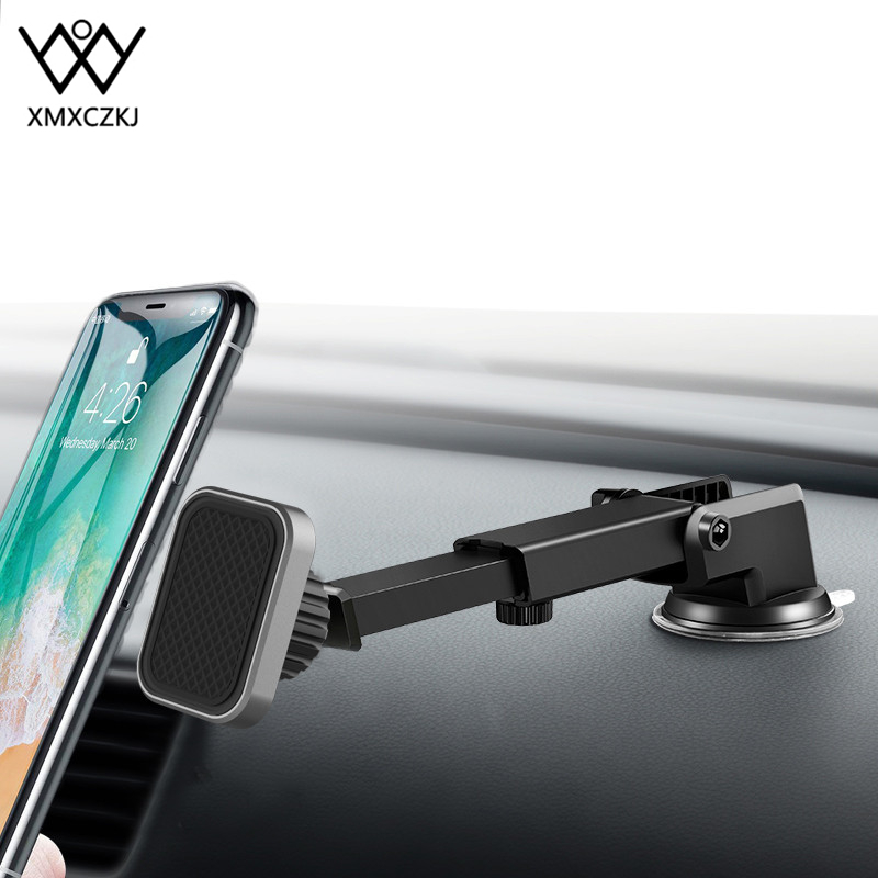 XMXCZKJ Universal Telescopic Suction Cup For IPhone X Car Magnetic Phone Holder Windshield Dashboard Magnetic Holder For IPhone