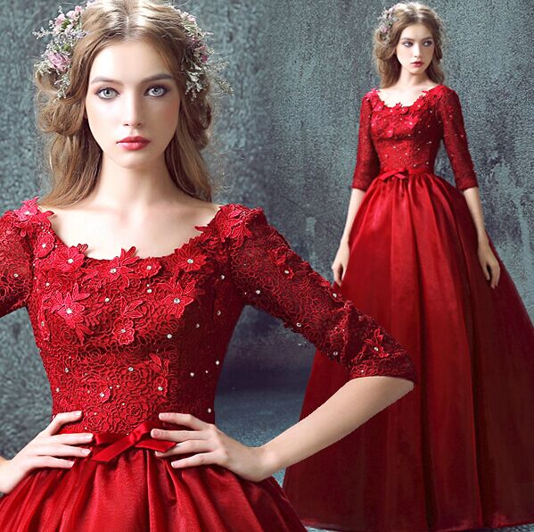 100%real red lace flower rhinestone embroidery medieval dress queen  Renaissance ball gown princess Victorian princess Antoinette 0085862f1c90