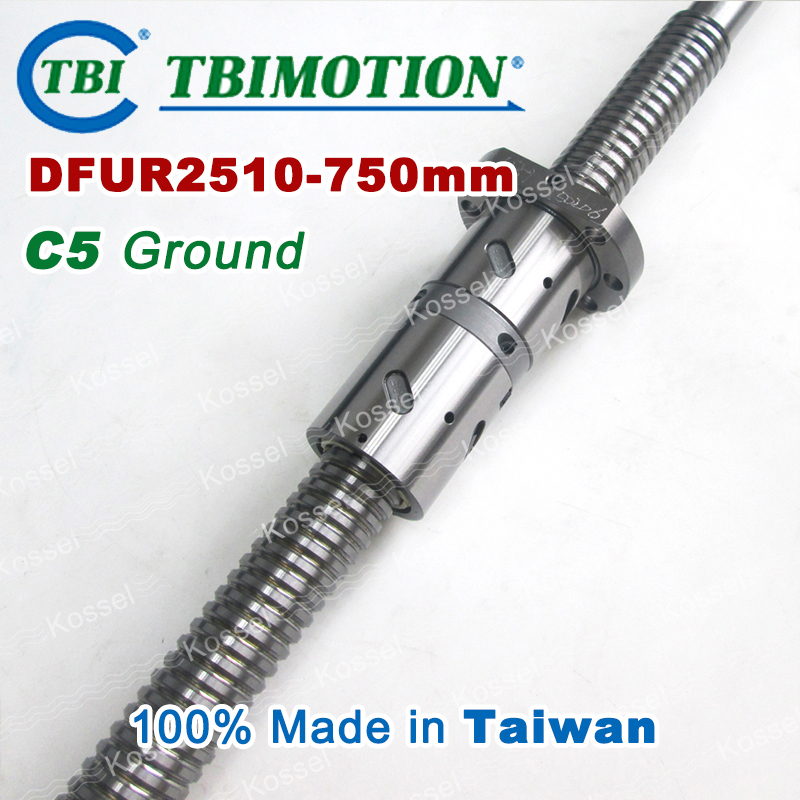 TBI 2510 Right Rotation 750mm Customized Grinding Ballscrew DFU2510 ball screw with one Double ball nut  diy CNC machine горелка tbi sb 360 blackesg 3 м