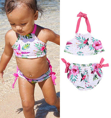 Itfabs Toddler Kids Swimming Costume Baby Girls Cute Floral Halter