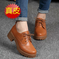 Spring\winter British style split cow leather women square heel Platform shoes woman rounded lace up oxfords women flat