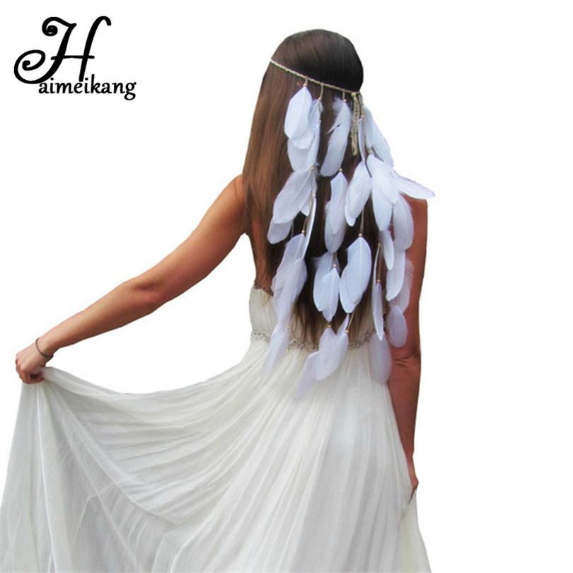 Haimeikang New Feather Headband Women Festival Feather Headband Bridal Wedding Hair Band Headdress Halloween Hair Accessories vintage camellia bridal headband pearls beaded hair vine headpiece wedding prom party headdress hair aornments wedding hair acce