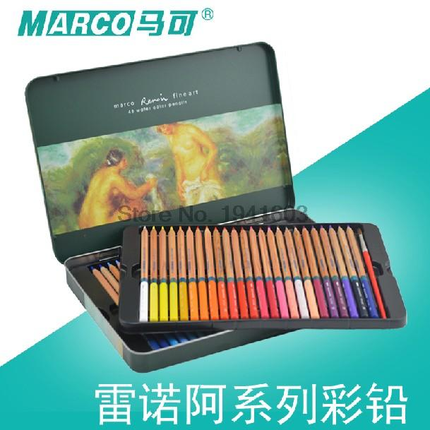 Marco Raffine colored pencils 24/36/48 colored pencil lapis de cor profissional iron boxed lapis de cor school marco raffine fine art colored pencils 24 36 48 colors drawing sketches mitsubishi colour pencil for school supplies