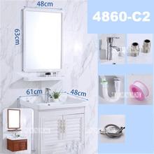 4860C-2 Мини Простой настенный шкаф для раковины, керамический стол для мытья ванной комнаты, шкаф для маленькой комнаты, алюминиевый шкаф с зеркалом