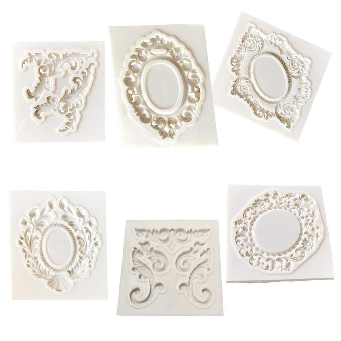 Силиконовая форма 1 шт. формы для выпечки, инструменты для украшения торта, Ретро рамка, шоколад мыло, формы для выпечки, кухонные инструменты