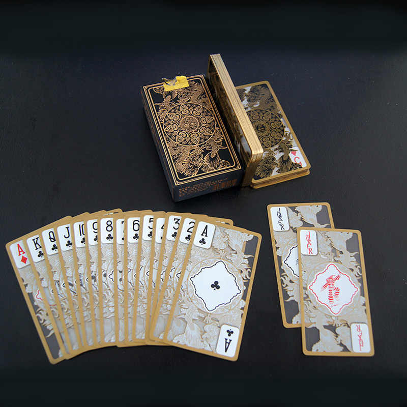 RED/BLACK Plastic PVC Poker Waterproof Transparent Gold Dragon Pattern Playing Cards Creative Gift Poker