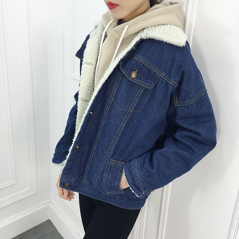Autumn Fashion Women Denim   Jackets   Turn-Down Collar Loose Warm Jeans Coat Outerwear Casual Faux Fur   Basic     Jacket   Coat