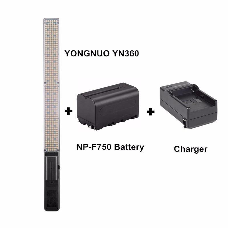YONGNUO YN360 Handheld LED Video Light 3200k 5500k RGB Colorful 39.5CM + BATTERY + Charger ...