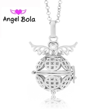 25Pcs Wholesale Pryme Angel Bola 22.5mm Angel Wings Copper Pendant Engelsrufer Cage Sound Ball Jewelry Women Perfume Cage L024