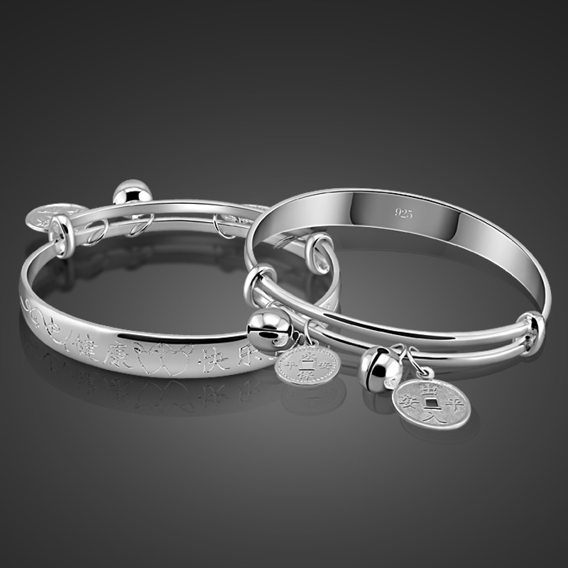 New Children's Pure 925 Silver Bangles Chinese Style Money Pendants Design Solid Silver Bracelets Baby Fashion Jewelery