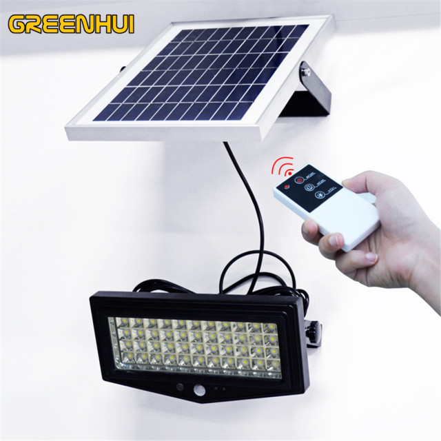 Solar Ed Remote Control Light 44 Led Waterproof Ip65 Pir Motion Sensor Outdoor Fence Garden