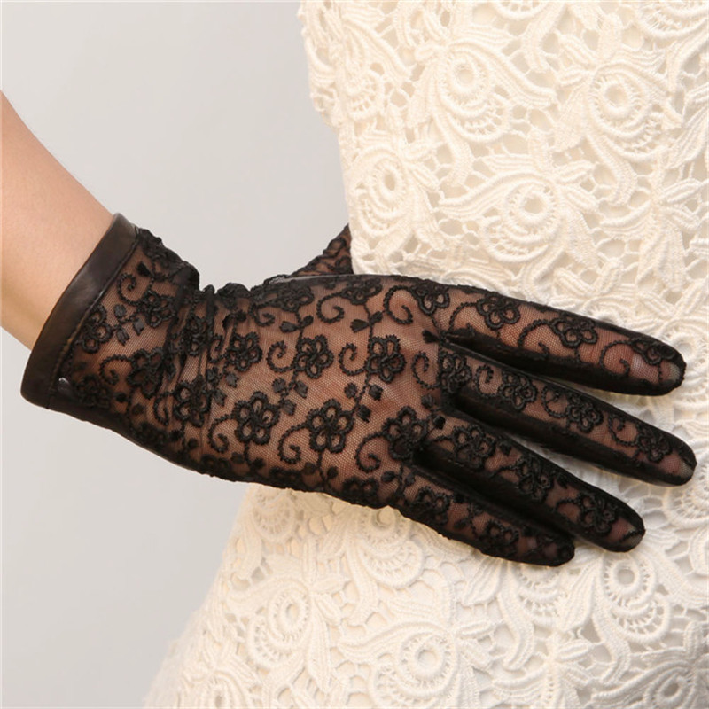 Spring Summer Woman's Real Leather Gloves Sheepskin Lace Gloves Female Fashion Elegant Short Style L023N2