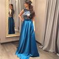 Tafetá Vestido De Noite 2016 Longo Azul Royal vestido de Noite do vintage Vestidos O Pescoço Curto Mangas Senhora Para Vestido Formal