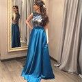 Vintage de Encaje Tafetán Vestido de Noche 2016 Largo Azul Real Vestidos de Noche Del O-cuello Corto Cap Mangas Vestido de Dama Formal