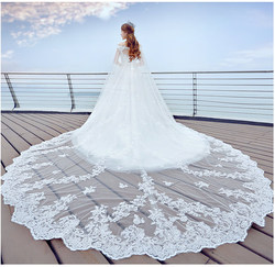 New Arrival Luxury 4 Meters Long Full Edge Lace Wedding Veil One Layer White Ivory Tulle Bridal Veil with Comb Veu de Noiva 2018