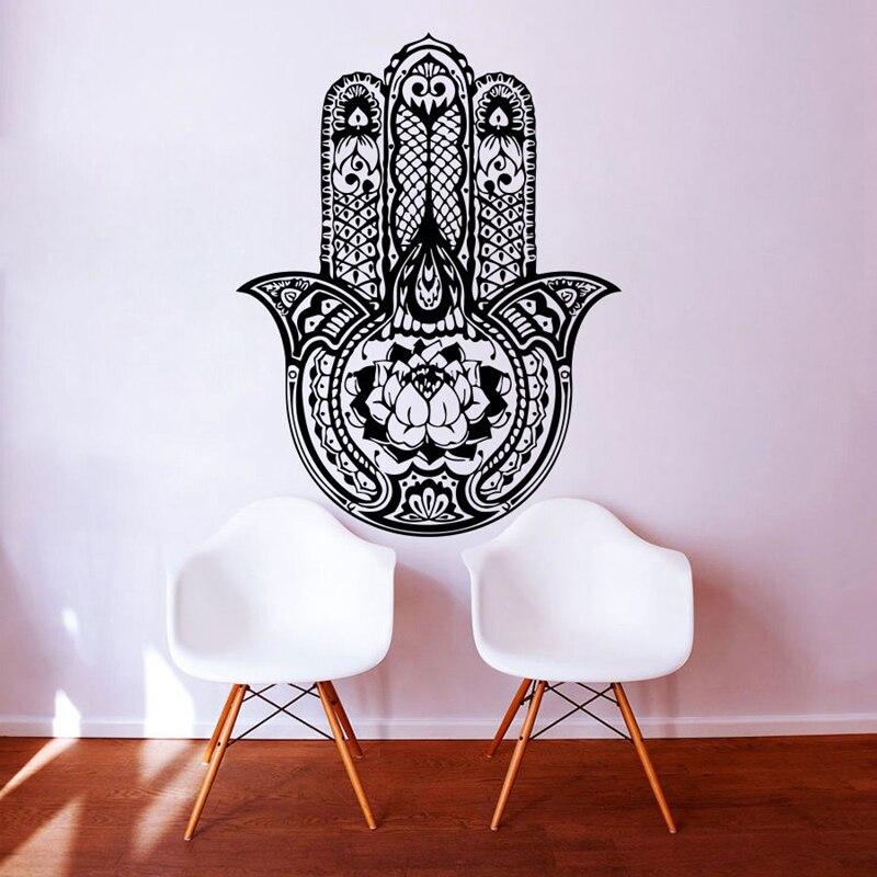 Hand Buddha Quotes Namaste Wall Decals Yoga Mandala Wall Stickers For Living Rooms DIY Home Decor Yoga Lotus Decoration diy photo frame tree home decals wall stickers