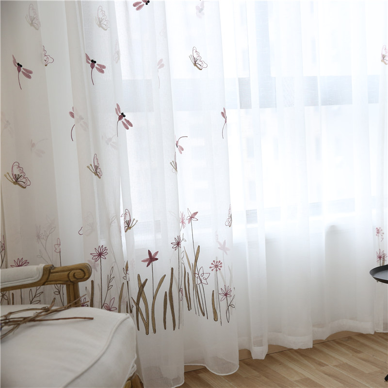 CITYINCITY Tulle Dragonfly And Butterfly Kidu0027s Curtains For Bedroom 3d Curtain  Embroidered Princess Style White Voile Sheer  In Curtains From Home U0026  Garden ...