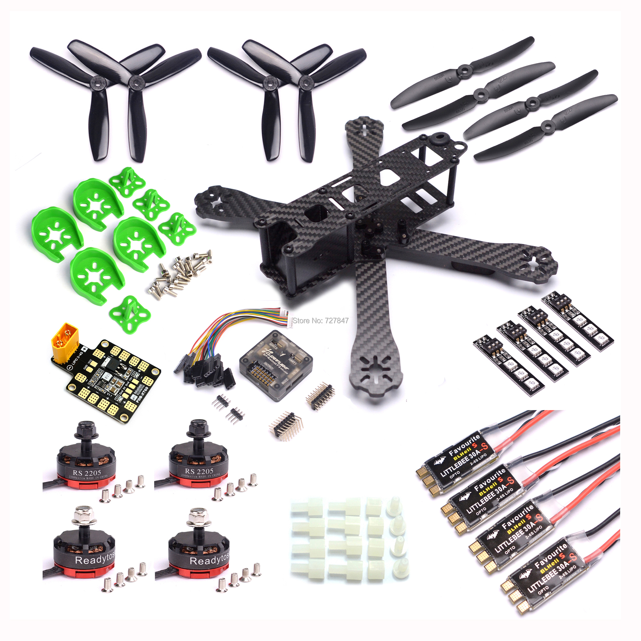 QAV-R 220mm fibre de carbone course Drone quadrirotor QAV-R 220 F3 contrôleur de vol RS2205 2300KV moteur LittleBee 30A-S ESC BLHeli