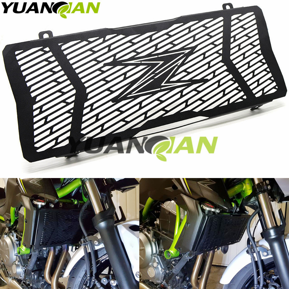 Black Motorcycle Accessories Radiator Grille Guard Cover Protective For Kawasaki Z650 2017 Stainless Steel for kawasaki z900 2017 motorcycle radiator guard gloss stainless steel grille bezel radiator net protective cover
