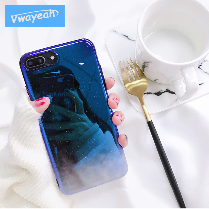 Ins Hot Mysterious Blue Starry Sky White Crescent Blue Light Mirror Laser Creatively Character Case For iPhone x 10 6 6S 78 Plus