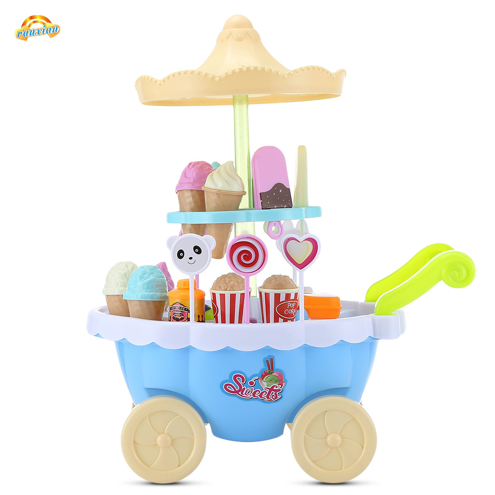 2018 New Pretend Play Kitchen Toys Household Playset Candy Ice Cream Cart Come With Flashing Lights And Music Model Toy For Kids ice cream cart toy