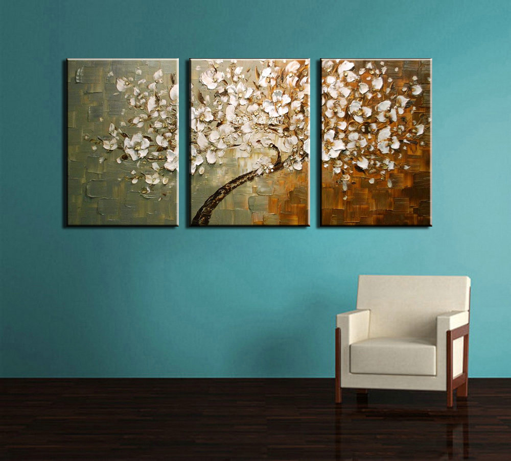 3 Piece Modern Canvas Wall Art Triptych Muti Abstract Tree Wall Oil .