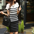 2016 Spring Women Casual Dress Fashion Striped Short Sleeve  Gradient Knitting Dresses C579