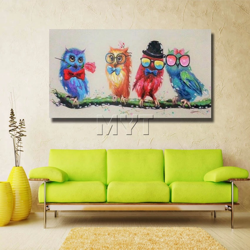Aliexpress.com : Buy Cartoon Funny Birds Canvas Wall Art Oil ...