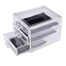 ФОТО 1Pcs 3 Lattice Transparent Acrylic Cosmetics Pencil Case Makeup Organizer Cosmetic Holder Tools Storage Box Brush And Accessory