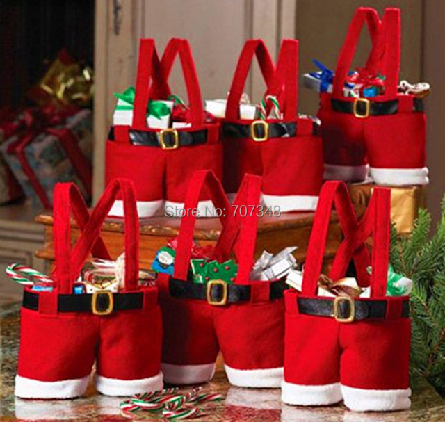 Child Candy Bag Hot-selling novelty red Pants christmas candy bag holiday party bag Christmas gift (Small size For Kids) 20PCS