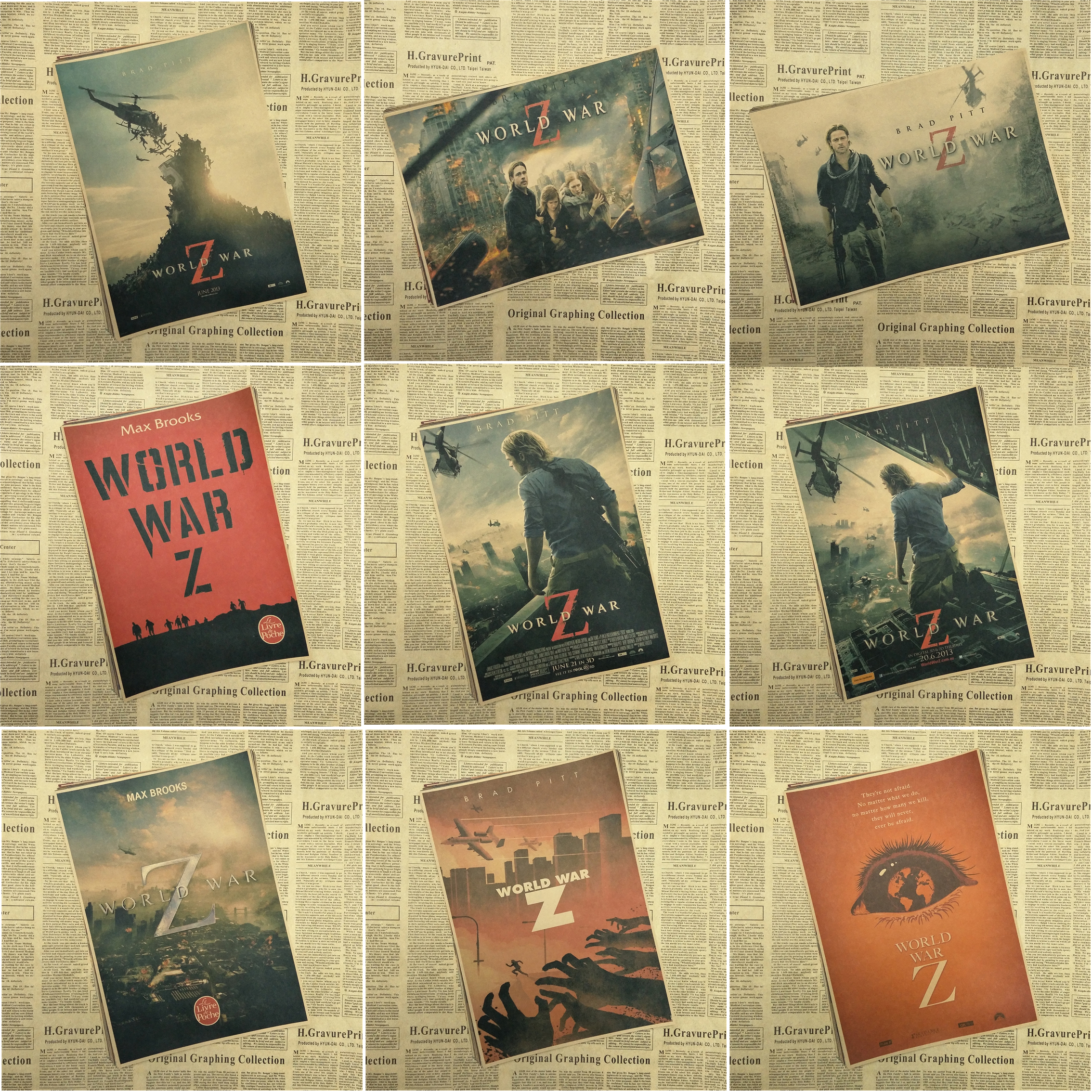 US $1 7 8% OFF|WORLD WAR Z Brad Pitt Vintage Movie Poster Wall Paper Home  Decor Cudros Art Painting Mix Order 42x30CM-in Wall Stickers from Home &