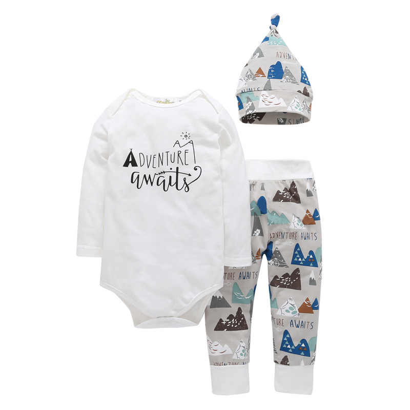 Infant Toddle Baby Boys Girl Clothes Autumn Adventure awaits bodysuits+pants+Hat 3PCS Children bebe kids outfit clothing sets