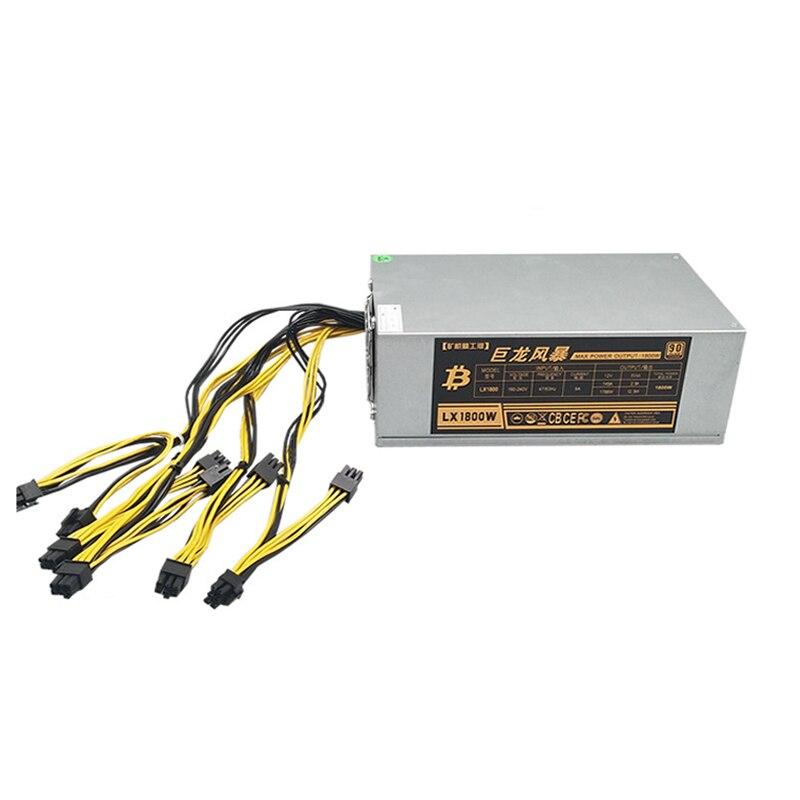 Pc Mining Case Power Supply 1800w Server Rack Psu 6pin*10 For Antminer A4 A6 S7 S9 E9 L3 L3+ D3 R4 Btc Ltc Dash Power Supply