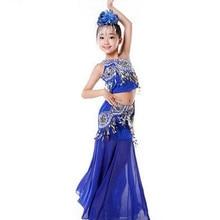 Детские костюмы для танца живота, детские костюмы для танца живота, синие костюмы для танцоров, одежда для фестиваля, Одежда для танцев