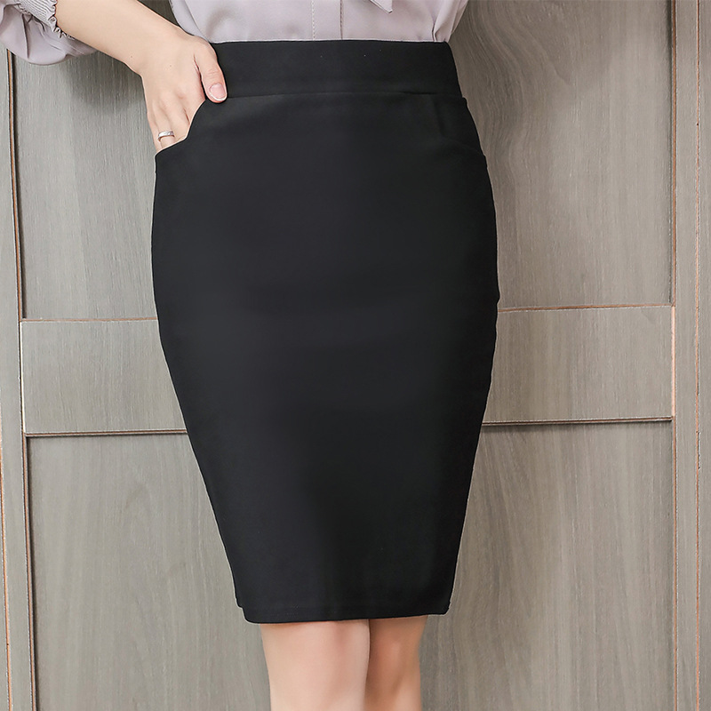 Skirts Womens Spring Autumn Women High Waist Skirt Plus Size Fashion Woman Pocket Elastic Skirts Elegant Women Work OL Skirt 3XL