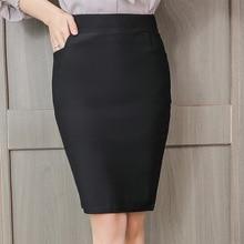 цены на Skirts Womens Spring Autumn Women High Waist Skirt Plus Size Fashion Woman Pocket Elastic Skirts Elegant Women Work OL Skirt 3XL в интернет-магазинах