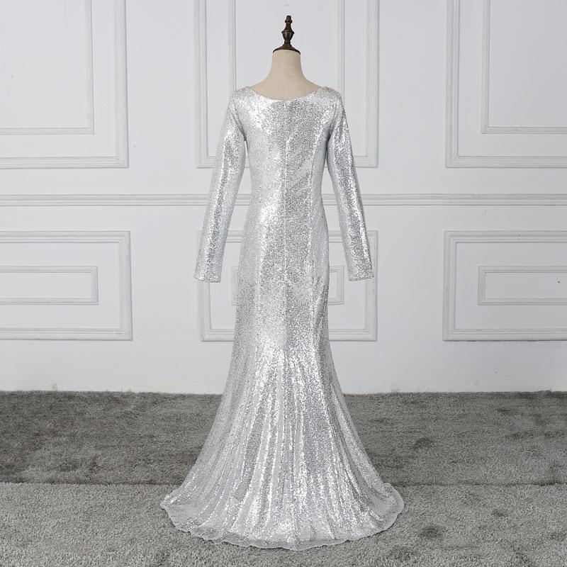 FADISTEE New Arrival Prom Party Dress Evening Dress Vestido De Festa Luxury Sliver Sequins Full Sleeves Muslim Free Shipping