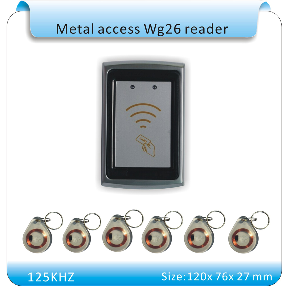 Waterproof  metal shell  Wiegand 26 Interface EM Compatible Proximity RFID ID Card EM Reader For Access Control+10pcs keyfobs free shipping waterproof metal shell 125khz rfid access control card reader with wg26 port 5pcs crystal keyfobs