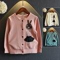 [Bosudhsou.] JH-4 Todder Chicas chaqueta de Punto de conejo de dibujos animados Al Por Menor Nueva Primavera Suéter de la Muchacha Ropa de Los Niños o cuello de la Ropa